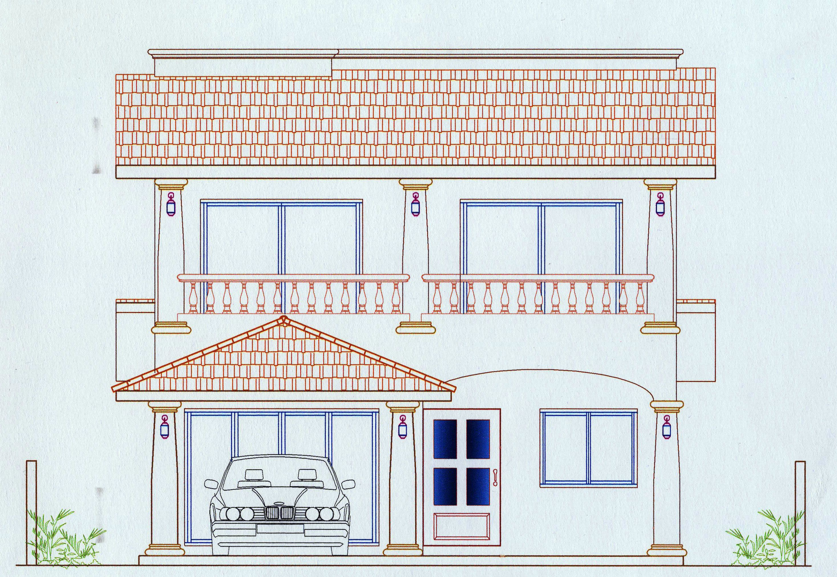 Front view of drawing plan for Front view house plans